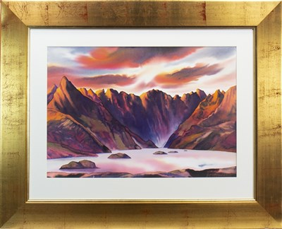 Lot 501-THE BLACK CUILLIN, DAWN, A MIXED MEDIA BY PETER GOODFELLOW