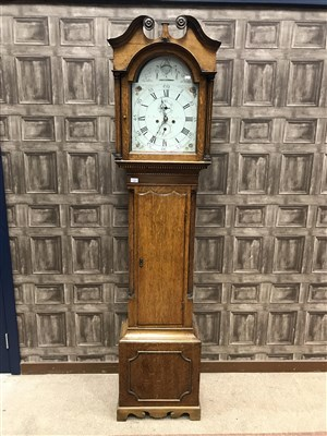 Lot 1401-A VICTORIAN OAK LONGCASE CLOCK