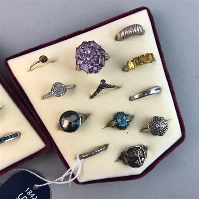 Lot 4-A LOT OF SILVER, GEM SET AND OTHER DRESS RINGS