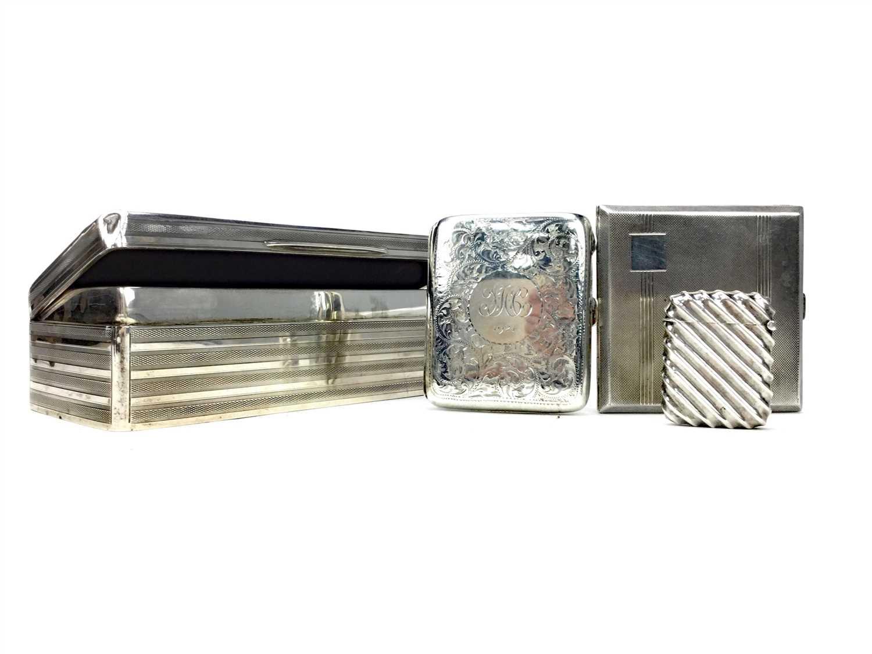 Lot 807 - A SILVER CIGARETTE BOX, VESTA CASE AND TWO CIGARETTE CASES