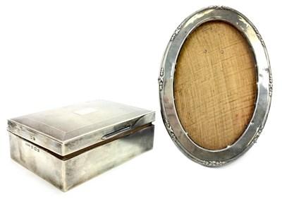 Lot 806-A SILVER CIGARETTE BOX AND SILVER PHOTOGRAPH FRAME