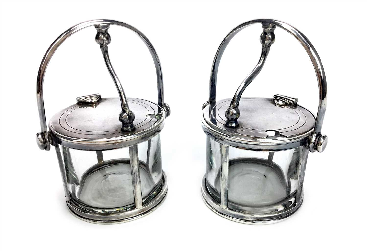 Lot 804-A PAIR OF GLASS MUSTARD POTS WITH MOUNTS BY FELIX FRERES
