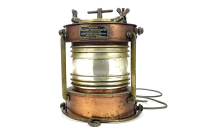 Lot 803-A SHIPS COPPER AND BRASS MAST LAMP BY HARVIE