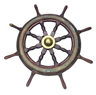 Lot 807-A SMALL SHIPS WHEEL ALONG WITH A PORT HOLE COVER