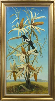 Lot 651-MAGPIE ON A MAIZE PLANT, AN OIL BY ANDRE QUELLIER