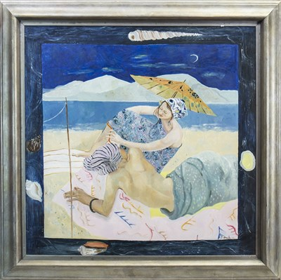 Lot 530-THE SUN WORSHIPPERS, AN OIL BY BRENDA LENAGHAN