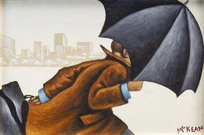 Lot 507-THE COMMUTER, AN OIL BY GRAHAM MCKEAN