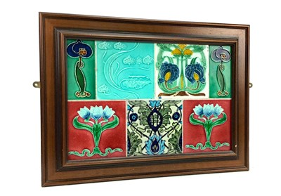 Lot 808-A FRAMED PANEL OF SEVEN CERAMIC GLASGOW TENEMENT TILES