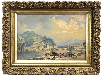 Lot 602-VIEW OF THE RHINE WITH CASTLE, A WATERCOLOUR