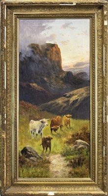 Lot 604-HIGHLAND CATTLE, AN OIL BY CHARLES W OSWALD