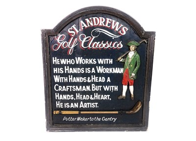 Lot 1801-A ST ANDREWS GOLF CLASSICS PUTTER MAKER SIGN