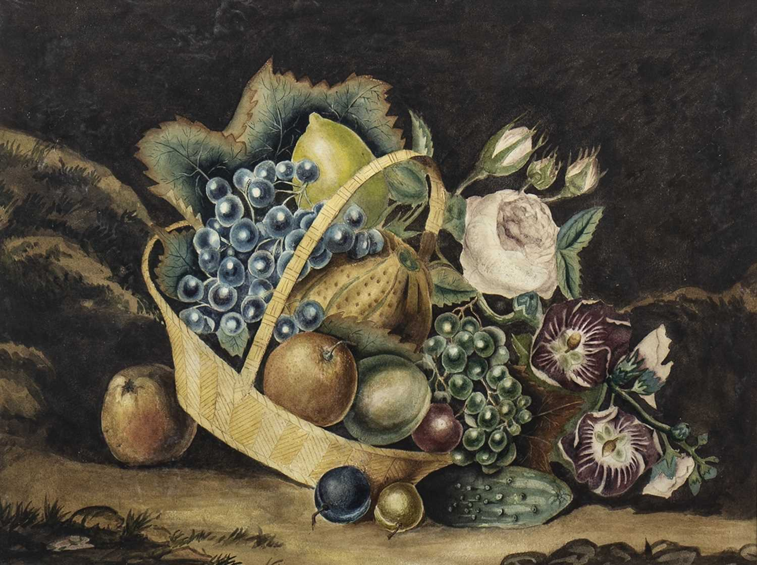 Lot 610-STILL LIFE WITH FRUIT IN BASKET, A WATERCOLOUR