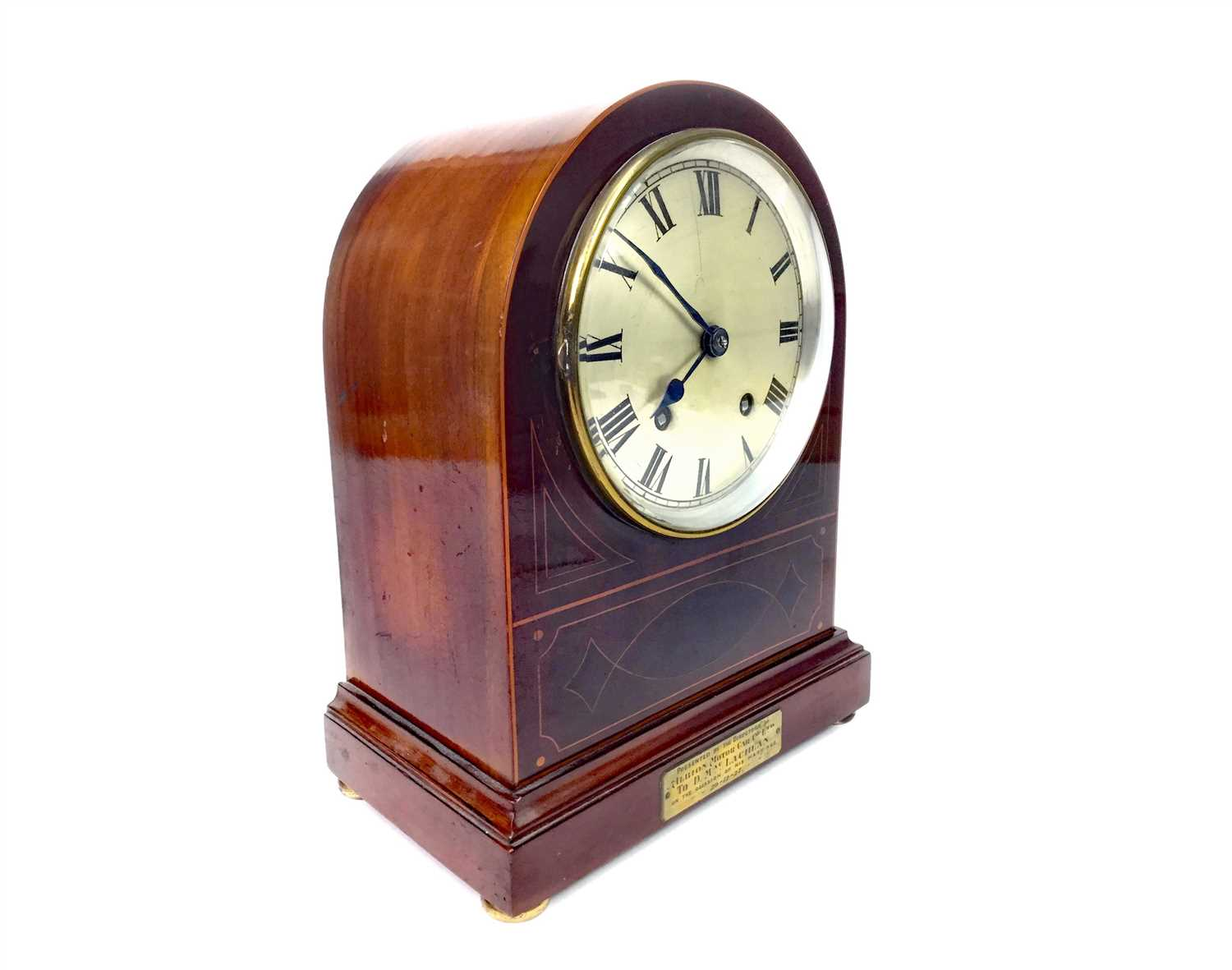Lot 1402-AN EDWARDIAN INLAID MAHOGANY MANTEL CLOCK