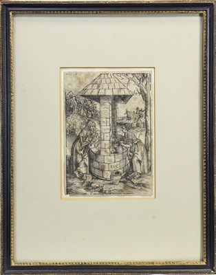 Lot 605-CHRIST AND THE WOMAN OF SAMARIA AT THE WELL, A WOODCUT BY LUCAS CRANACH THE ELDER