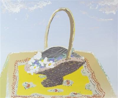 Lot 508-FLOWER BASKET, A SCREENPRINT BY WINIFRED NICHOLSON