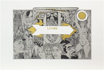 Lot 523-LANARK - BOOK JACKET, A LITHOGRAPH BY ALASDAIR GRAY