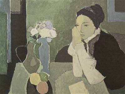 Lot 513-WOMAN WITH FLOWERS, A SCREENPRINT BY ALDO SALVADORI