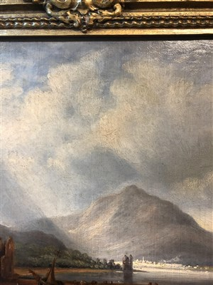 Lot 433-SCOTTISH LANDSCAPE WITH FIGURE, AN OIL BY ALFRED POWELL