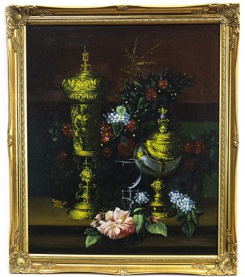 Lot 629-STILL LIFE WITH FRUIT AND FLOWERS, AN OIL