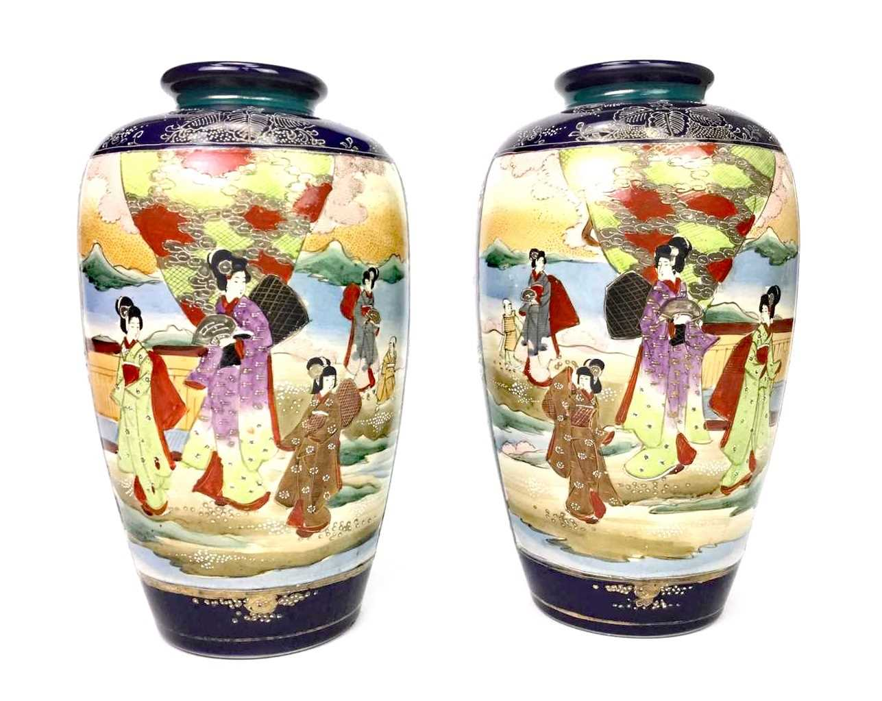 Lot 1021-A PAIR OF JAPANESE SATSUMA VASES