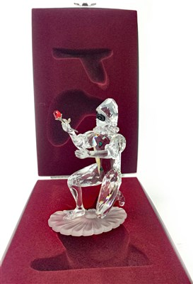 Lot 1212 - A LOT OF TWO SWAROVSKI FIGURES OF HARLEQUINS AND THE PRINCESS AND THE FOOL (4)