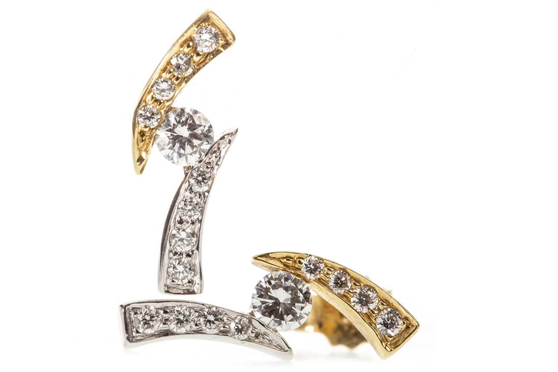 Lot 1-A PAIR OF DIAMOND STUD EARRINGS
