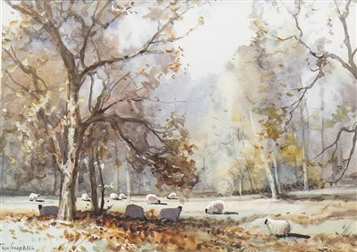 Lot 614-NOVEMBER IN THE GLEN, A WATERCOLOUR BY TOM CAMPBELL
