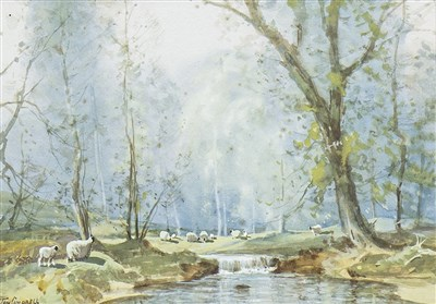Lot 613-STORMY SPRINGTIME, A WATERCOLOUR BY TOM CAMPBELL