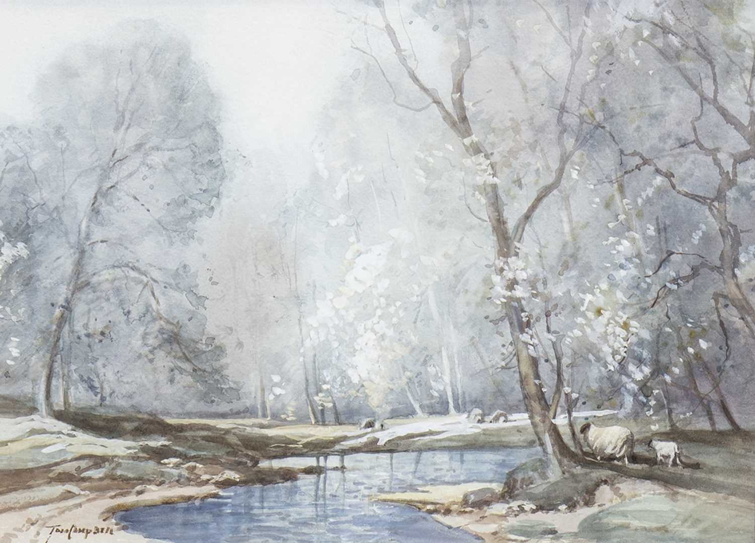 Lot 611-STEAM IN A FOREST, A WATERCOLOUR BY TOM CAMPBELL