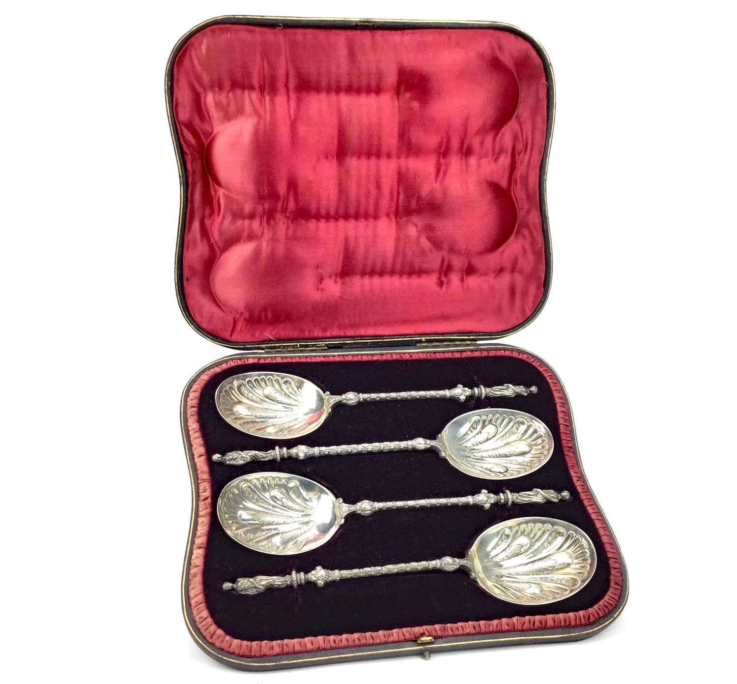 Lot 812-AN IMPRESSIVE SET OF FOUR VICTORIAN SILVER SERVING SPOONS