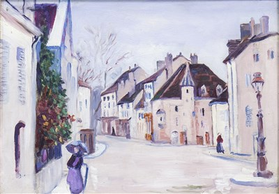 Lot 438-PARISIAN STREET SCENE, AN OIL IN THE SCHOOL OF J D FERGUSSON