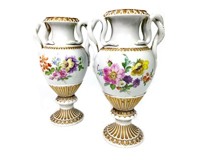 Lot 1225-A PAIR OF VICTORIAN MEISSEN VASES