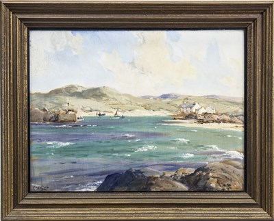 Lot 439-COASTAL SCENE, AN OIL BY JAMES HUMBERT CRAIG