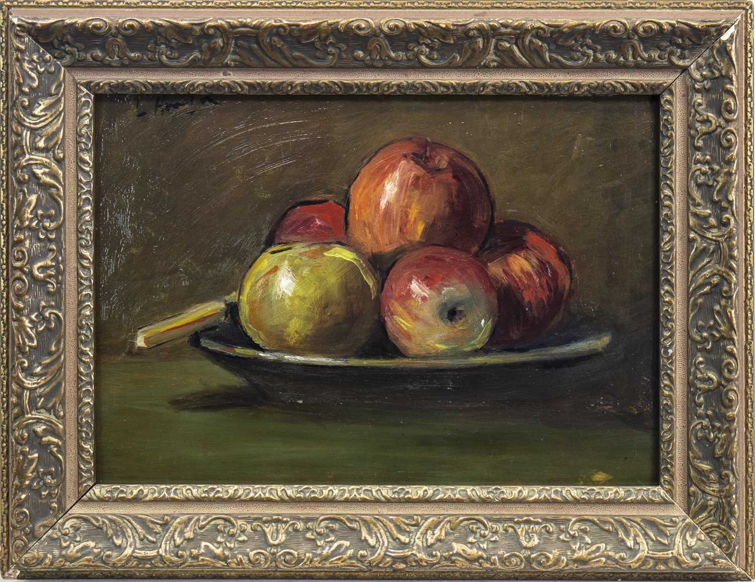 Lot 440 - STILL LIFE WITH APPLES, AN OIL BY GEORGE LESLIE HUNTER