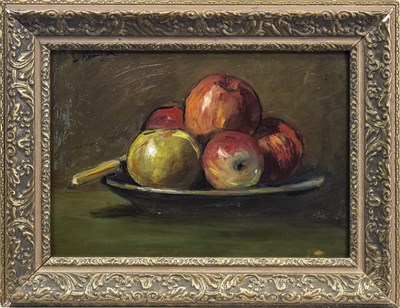 Lot 440-STILL LIFE WITH APPLES, AN OIL BY GEORGE LESLIE HUNTER