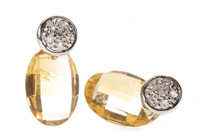 Lot 74-A PAIR OF CITRINE AND DIAMOND EARRINGS