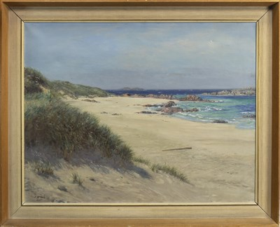Lot 441-COASTAL SCENE, AN OIL BY JOHN MCGHIE