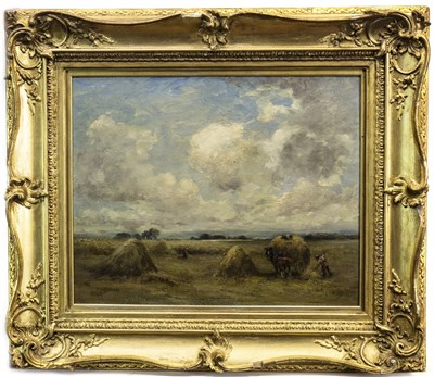 Lot 444-GATHERING IN THE HAY, AN OIL BY JEANIE STEVENSON