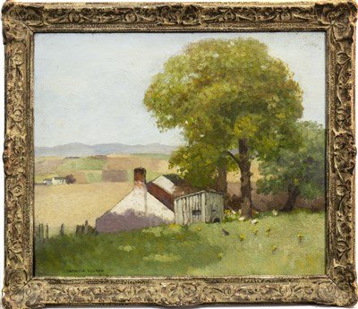 Lot 445-RURAL SCENE WITH HENS, AN OIL BY FRANCIS WILSON