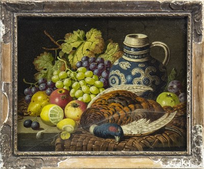 Lot 456-STILL LIFE WITH FRUIT AND GAME, AN OIL BY WILLIAM LANGLEY