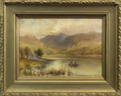 Lot 452-LAKE SCENE WITH FIGURES, AN OIL BY H PERCY WILLIAMS