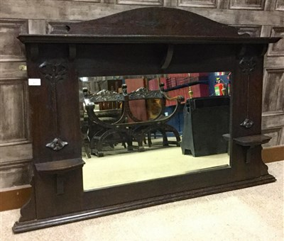 Lot 827-AN ARTS & CRAFTS OVER MANTEL MIRROR