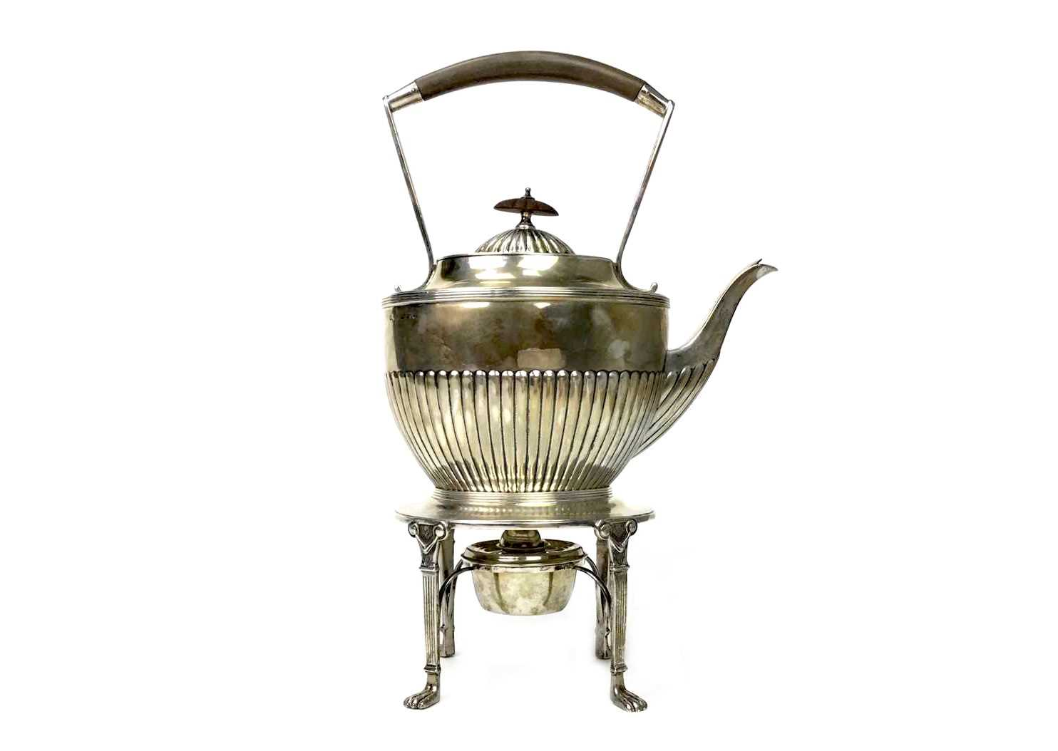 Lot 817 - A VICTORIAN SILVER KETTLE WITH STAND AND WARMER