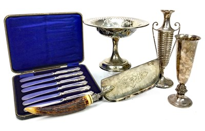 Lot 820-A GEORGE V SILVER BONBON DISH AND OTHER SILVER TABLE WARE