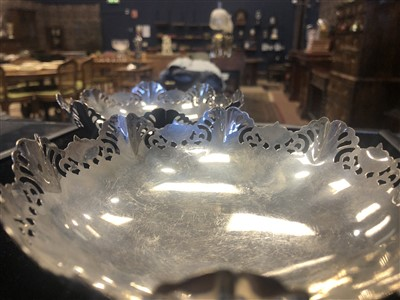 Lot 822 - A PAIR OF MID-20TH CENTURY SILVER CIRCULAR COMPORTS