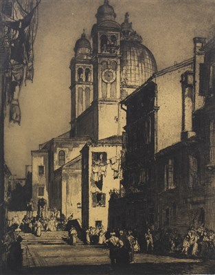 Lot 437-SANTA MARIA, FROM THE STREET,  AN ETCHING BY SIR FRANK BRANGWYN