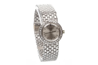 Lot 760-A LADY'S LONGINES WHITE GOLD DIAMOND WATCH