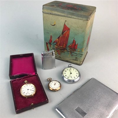 Lot 7-THREE POCKET WATCHES, A LIGHTER AND A CIGARETTE CASE
