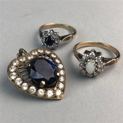 Lot 4-TWO GOLD PLATED RINGS AND A PENDANT