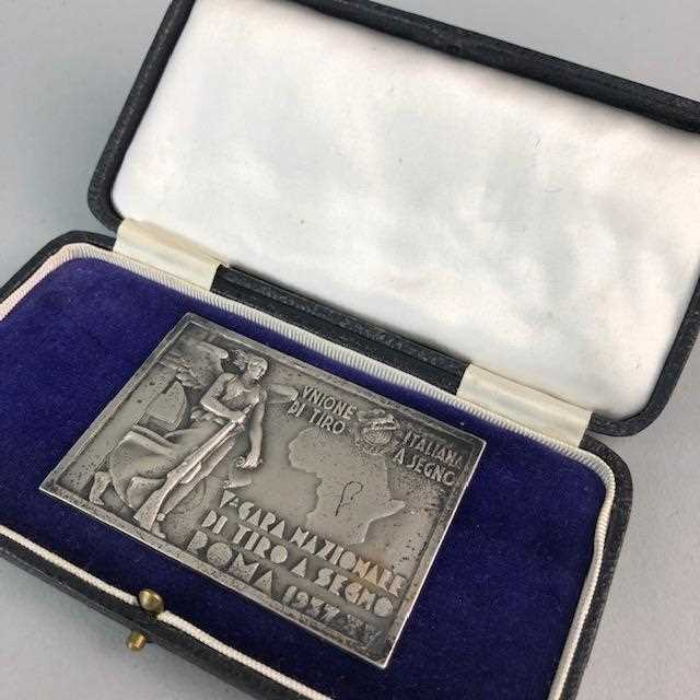 Lot 53-AN ART DECO ITALIAN NATIONAL SHOOTING COMPETITION MEDALLION